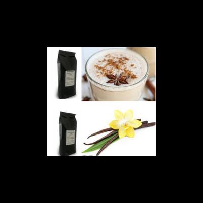 Tchai latte és vanília ízű szemes kávé csomag