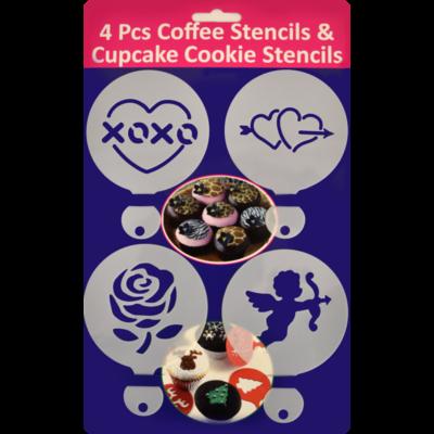4 db-os cappuccino díszítő sablon