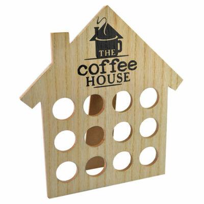 Házikó formájú kávékapszula tartó