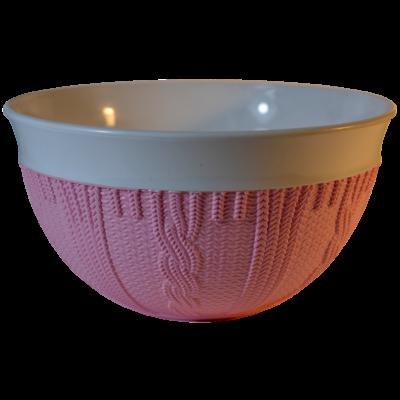 Rózsaszín, kötött mintázatú tálka