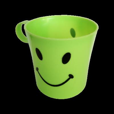 Zöld smiley műanyag bögre