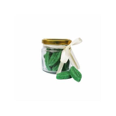 Üvegben, zöld tealevél alakú formacukor